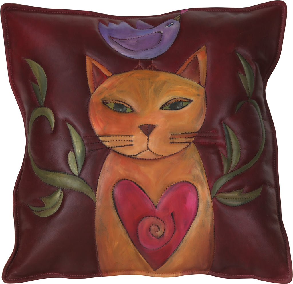 Leather Pillow –  A cute kitty with a bird perched on its head