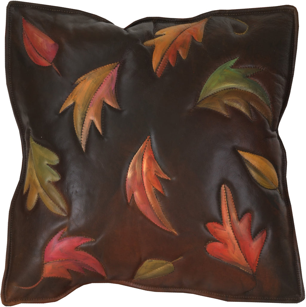 Leather Pillow –  Beautiful hand painted fall pillow with floating colorful leaves