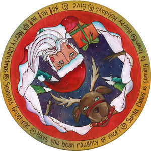 "20"" Lazy Susan – Santa and a reindeer popping out of a winter landscape in a vibrant jewel palette"