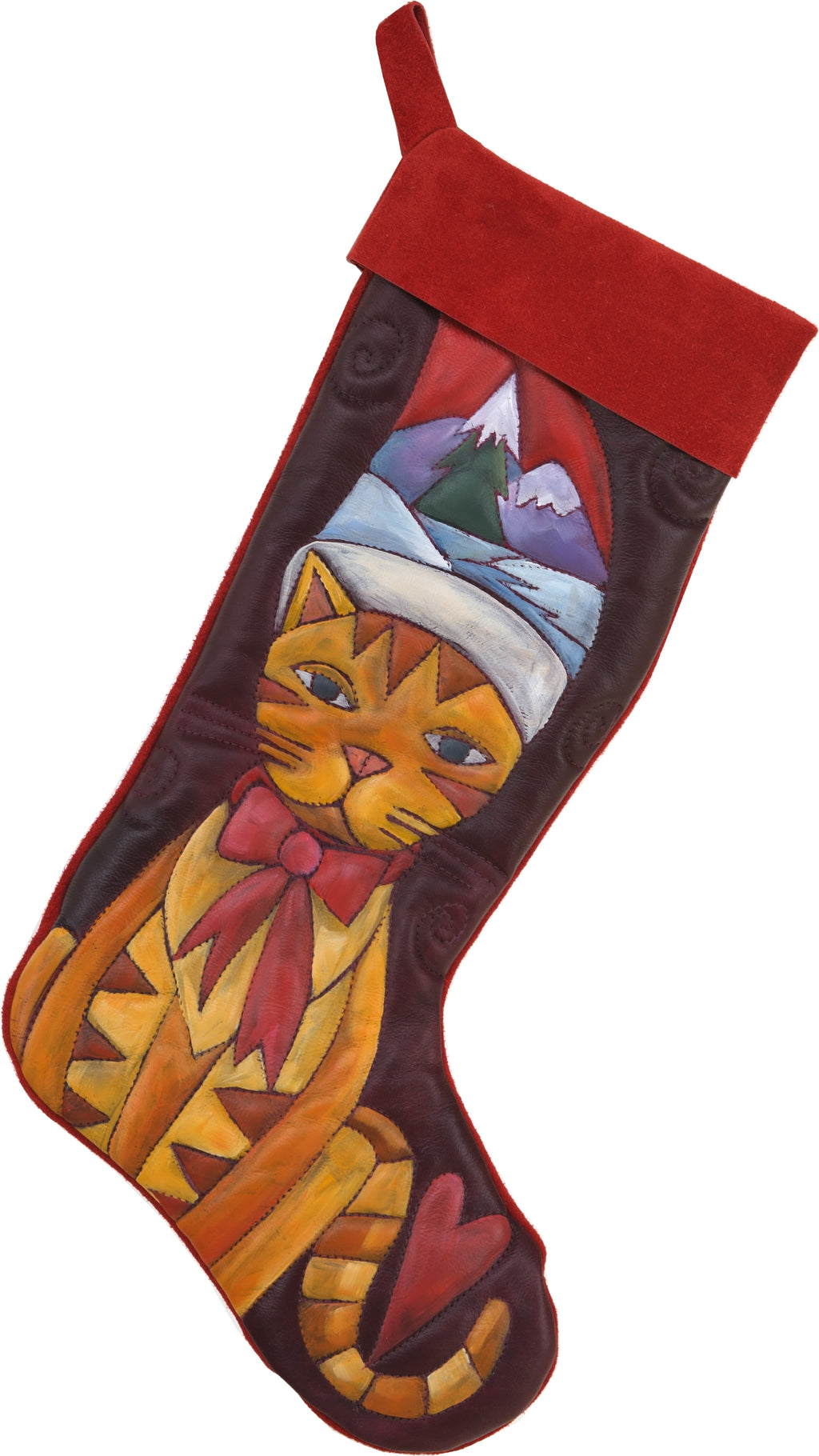 Leather Stocking –  Christmas kitty leather stocking motif