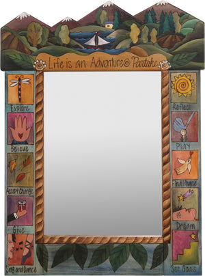 "Medium Mirror –  ""Life is an Adventure/Partake"" mirror with sailboat on a lake in the woods motif"
