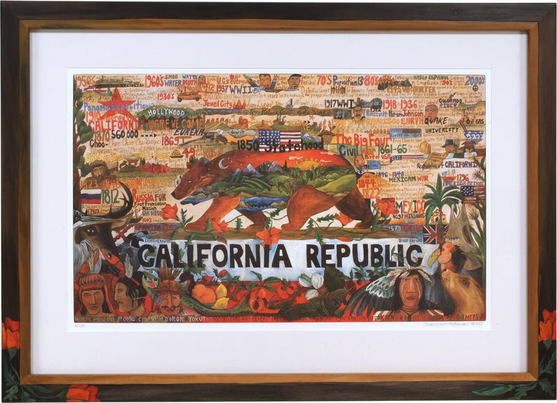 Framed California Republic Lithograph –  California Republic litho print in a beautiful handmade frame
