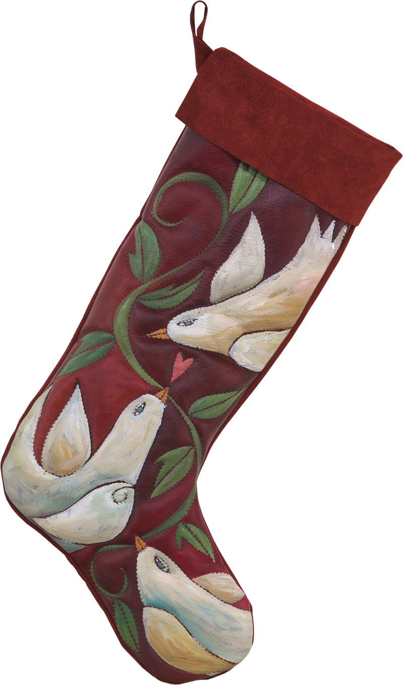 Leather Stocking –  Peace doves and a twisting vine motif
