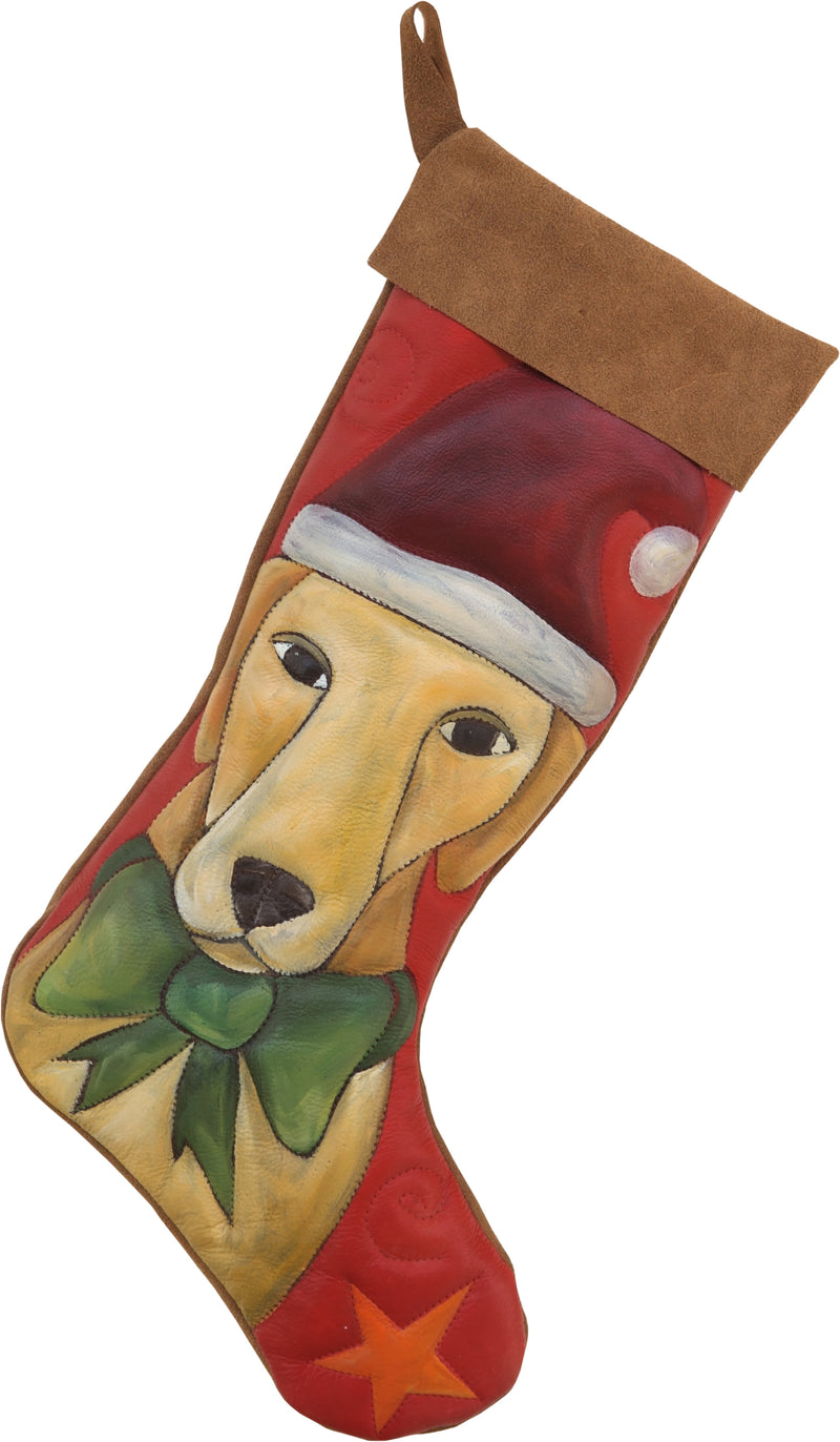 Leather Stocking –  Santa Paws Christmas pup stocking design