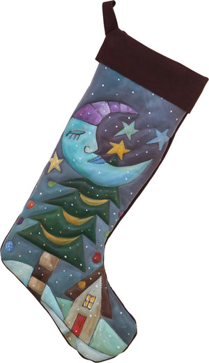 Leather Stocking –  Wintery wonderland stocking design painted in cool winter tones
