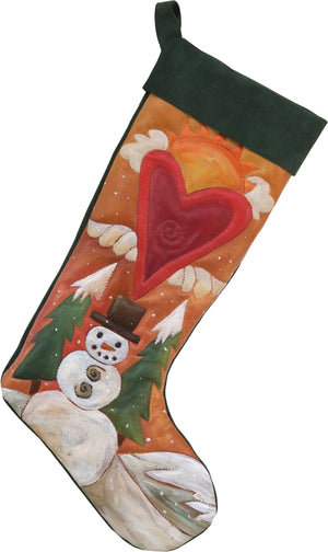 Leather Stocking –  Beautiful, warm and happy winter snowman motif