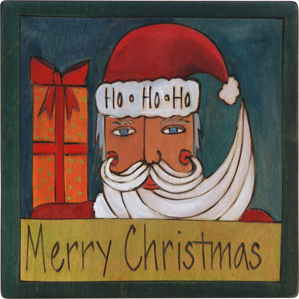 "7""x7"" Plaque –  ""Merry Christmas"" plaque with Santa Claus and present motif"