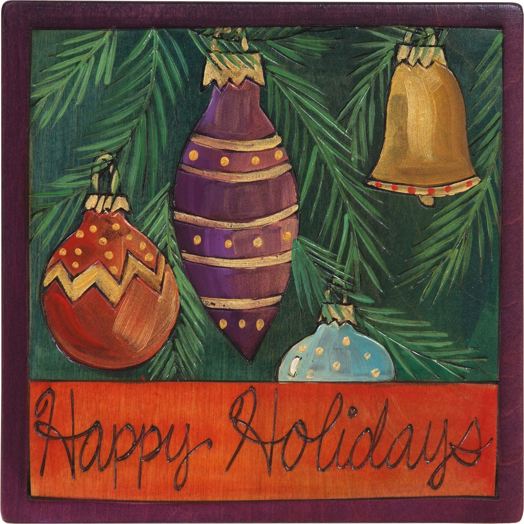 "Sticks handmade wall plaque with ""Happy Holidays"" quote and Christmas tree ornaments"