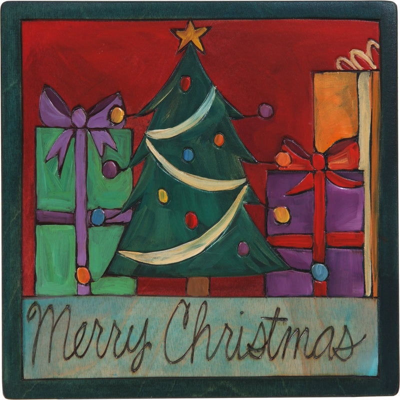 "7""x7"" Plaque –  ""Merry Christmas"" holiday plaque with Christmas tree and presents"