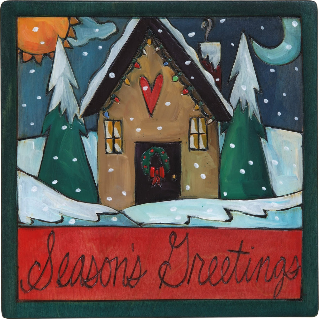 "7""x7"" Plaque –  ""Season's Greetings"" plaque with heart home and snowy landscape"