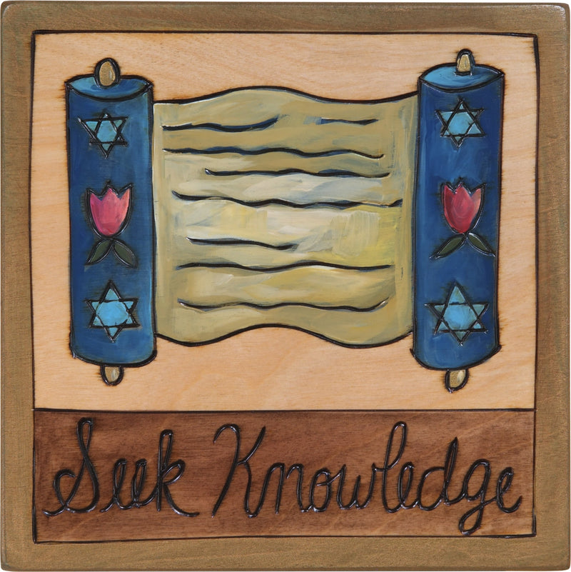 "7""x7"" Plaque –  ""Seek Knowledge"" Judaica plaque with Torah scroll"