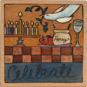 "7""x7"" Plaque –  ""Celebrate"" Judaica plaque with symbolic elements"