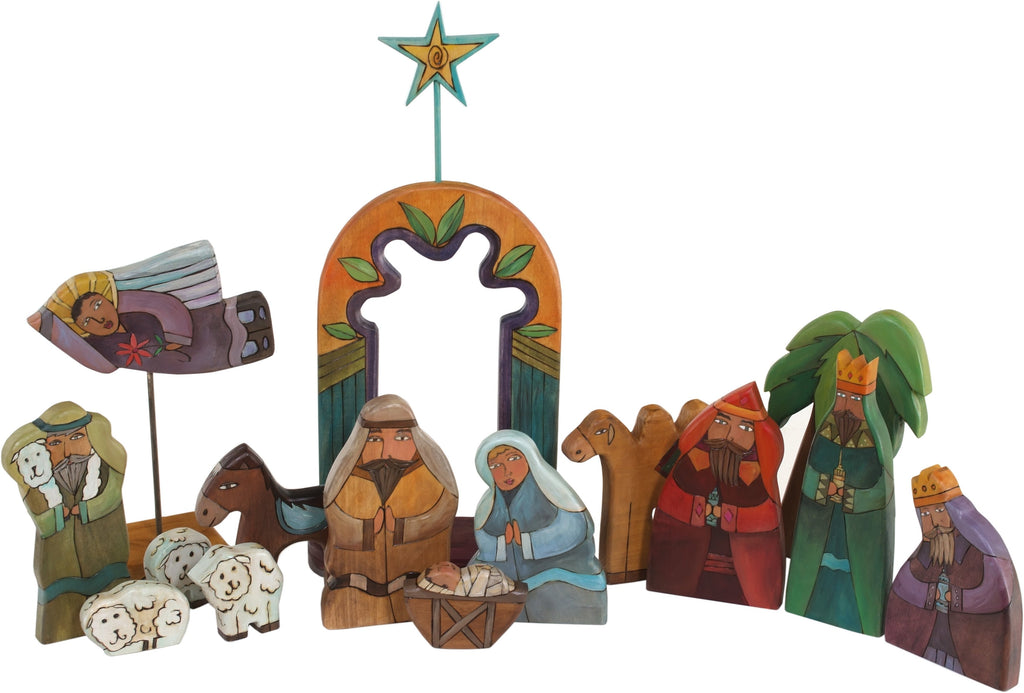 Large Nativity –  Large Nativity with orange/blue accents