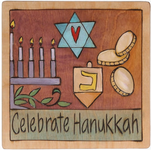 "7""x7"" Plaque –  ""Celebrate Hanukkah"" plaque with symbolic elements"