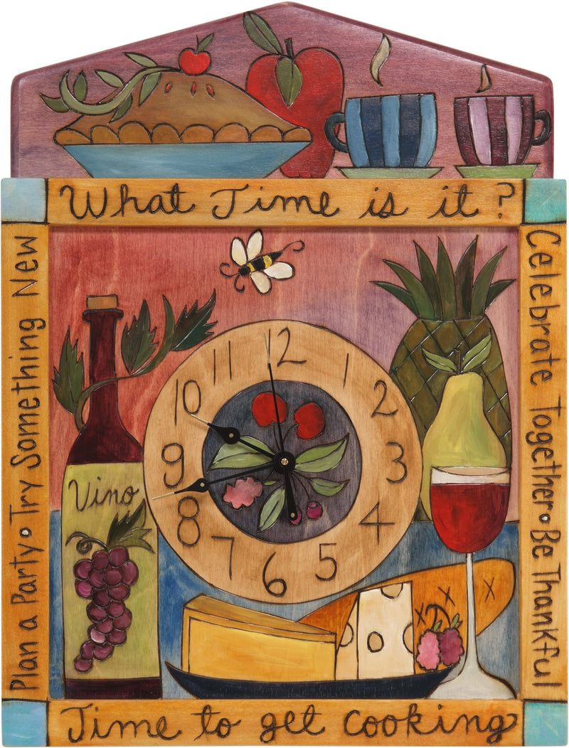 "Square Wall Clock –  ""What Time is it?"" fun food themed wall clock with banquet items"