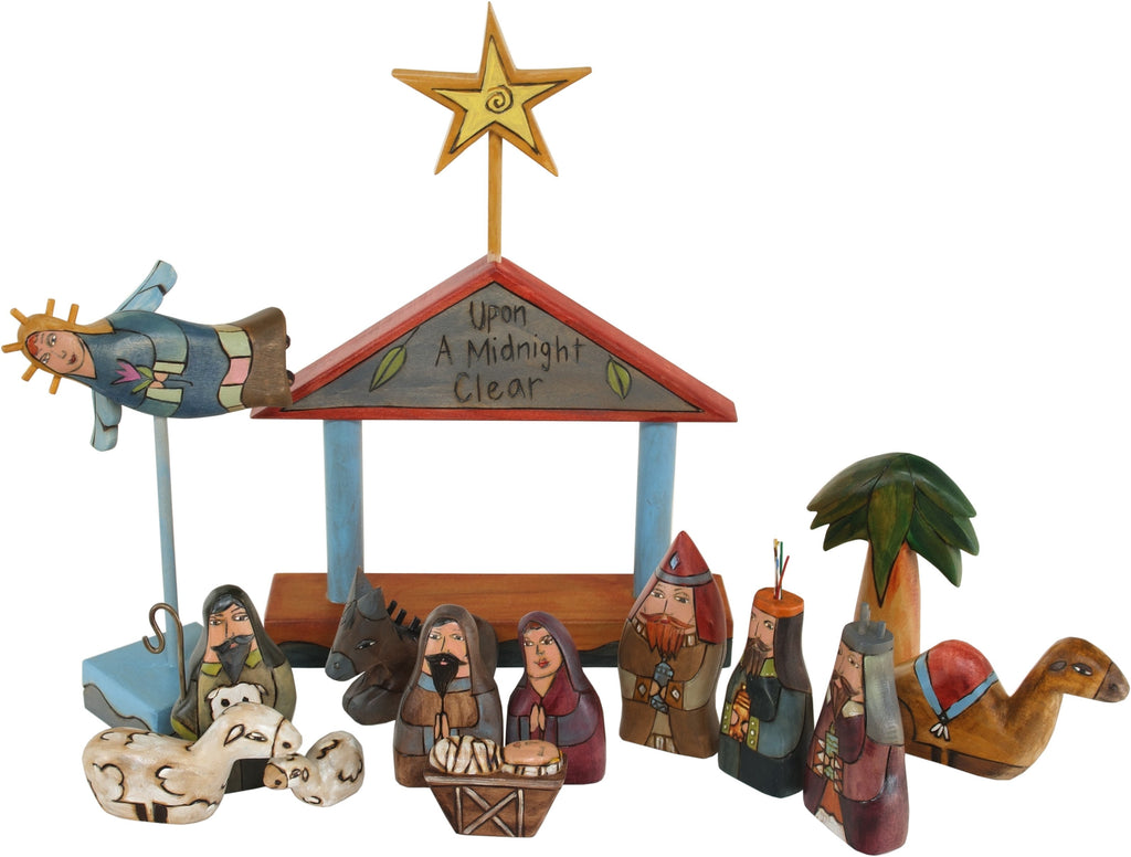 "Small Nativity –  ""Upon a Midnight Clear"" with gray/blue roof"