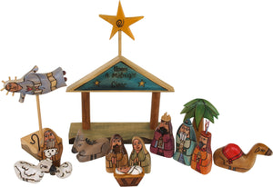 "Small Nativity –  ""Upon a Midnight Clear"" nativity with blue/green roof"