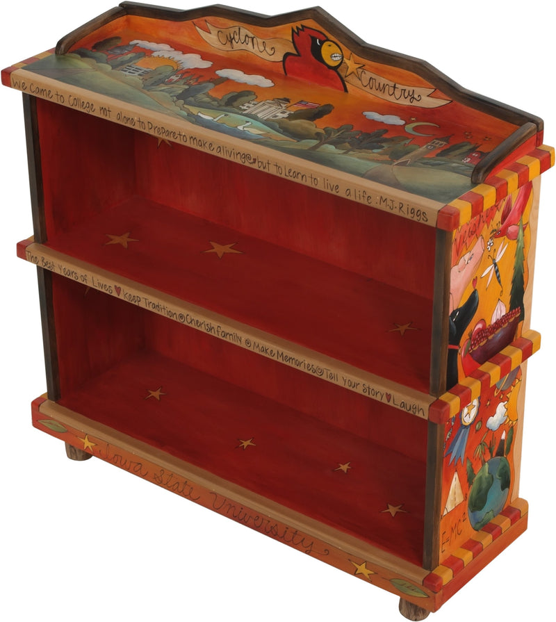 "Iowa State Short Bookcase –  ""Cyclone Country"" bookcase with symbolic elements honoring Iowa State University"