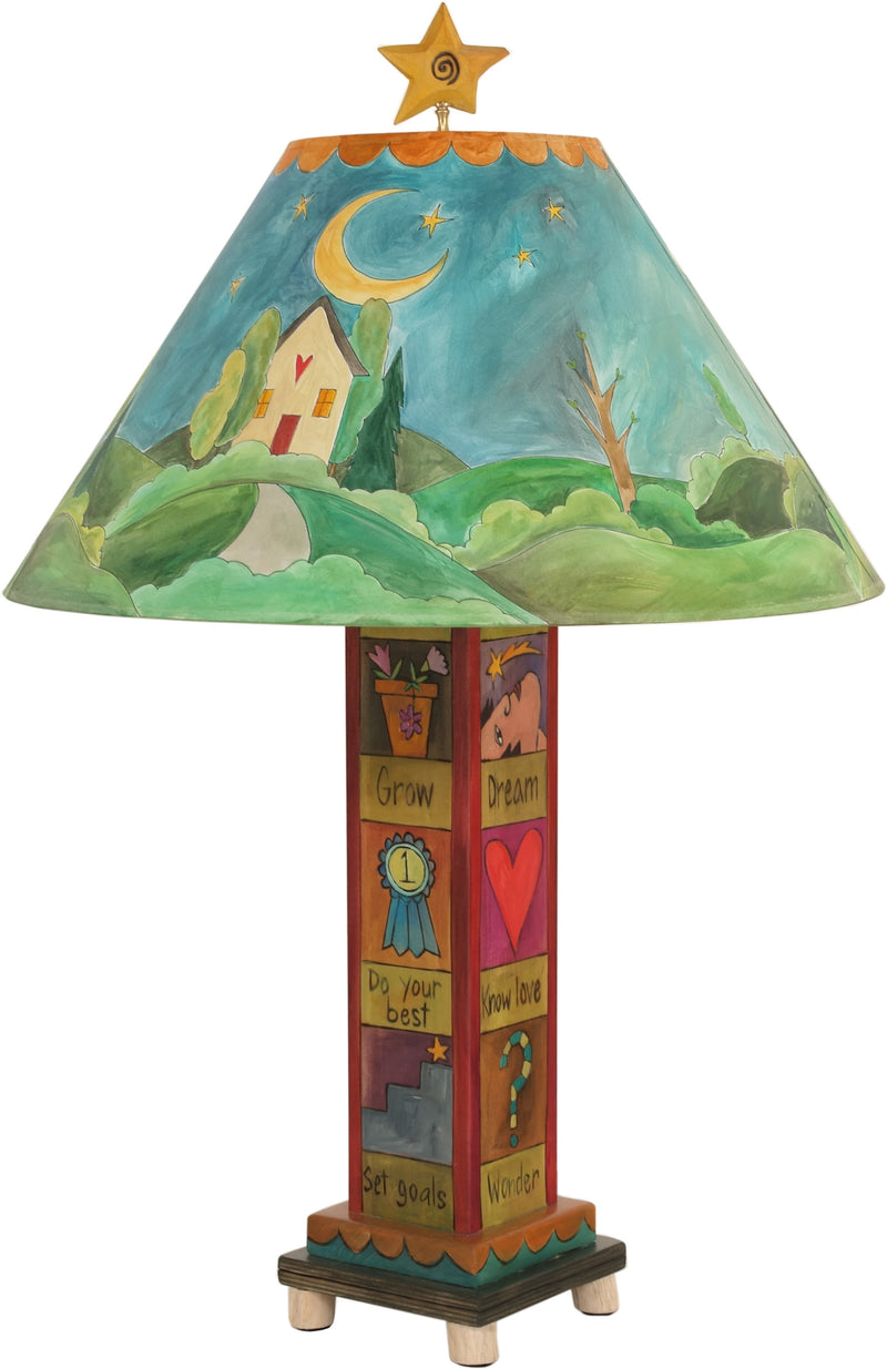 Box Table Lamp –  Contemporary table lamp with sun and moon theme, landscape painting and symbolic block icons