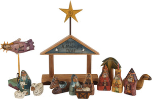 "Small Nativity –  ""Upon a Midnight Clear"" nativity with blue roof"