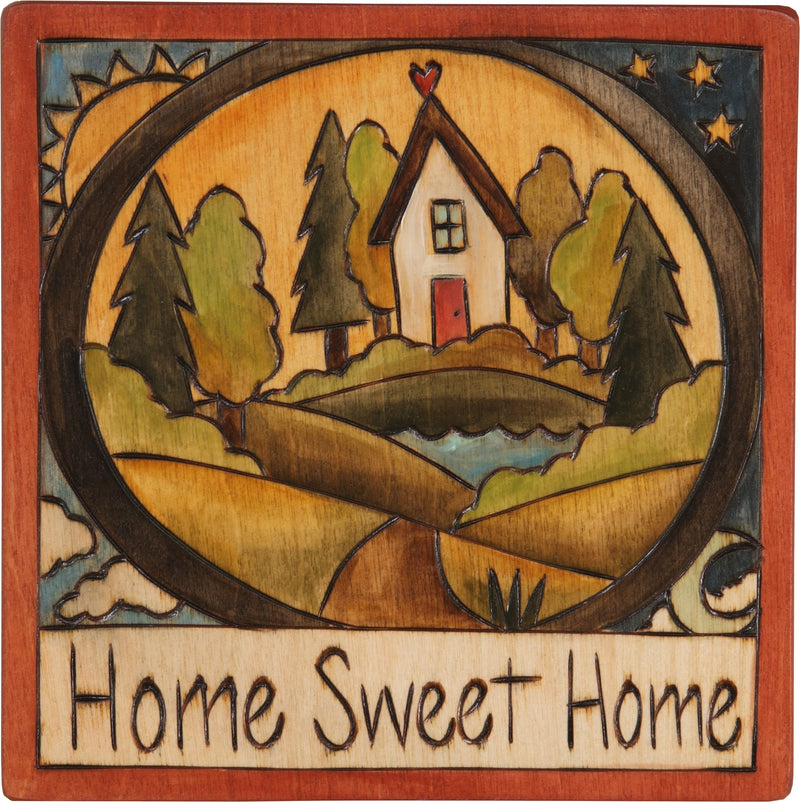 "Sticks handmade wall plaque with ""Home Sweet Home"" quote and house landscape imagery"
