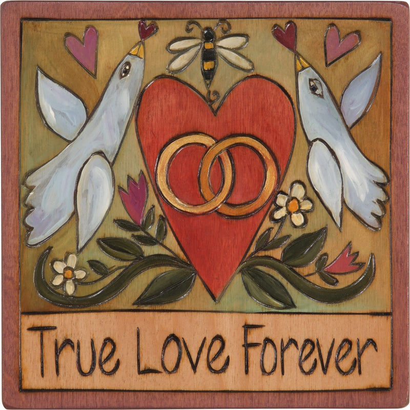"7""x7"" Plaque –  ""True love forever"" love birds and wedding rings motif perfect for wedding or anniversary"