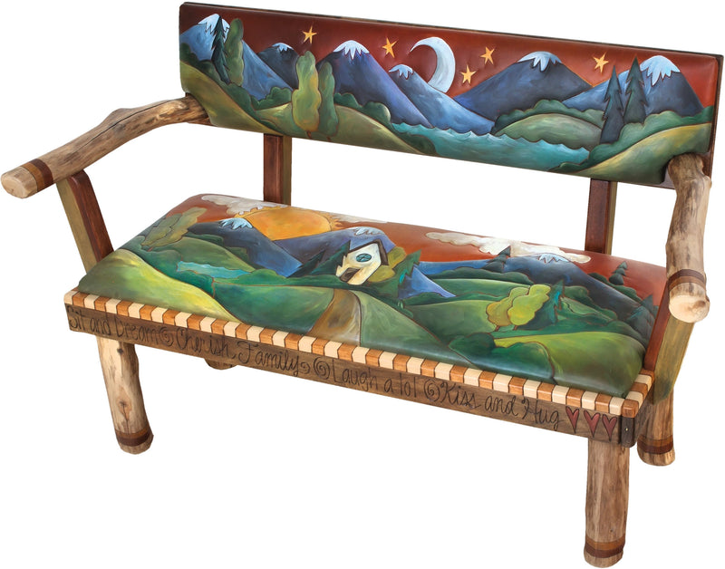 Loveseat with Leather Seat –  Gorgeous loveseat bench with hand stitched leather cushion and rolling mountain and foothills landscapes
