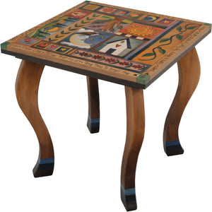 Large Square End Table –  Elegant and neutral end table with colorful block icons and patterns