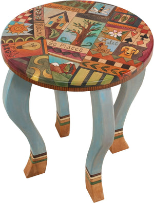 Round End Table –  Elegant end table with fun folk art symbols and inspiring phrases