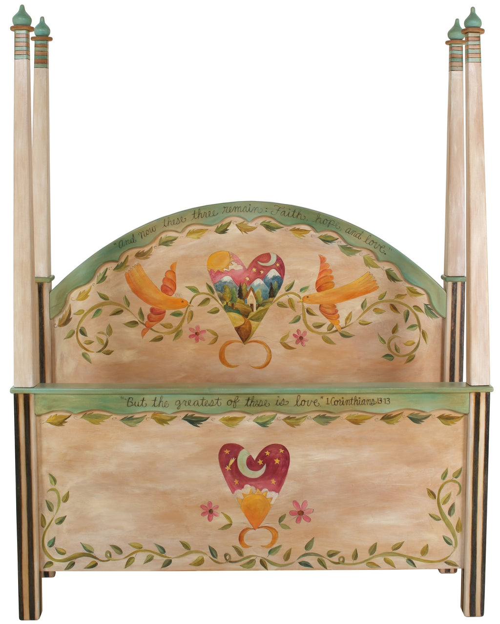 "Queen Bed with Posts–  ""But, the Greatest of these is Love"" queen bed with posts with lovebirds and heart motif"