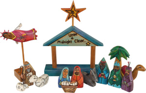 "Small Nativity –  ""Upon a Midnight Clear"" nativity with light blue roof"