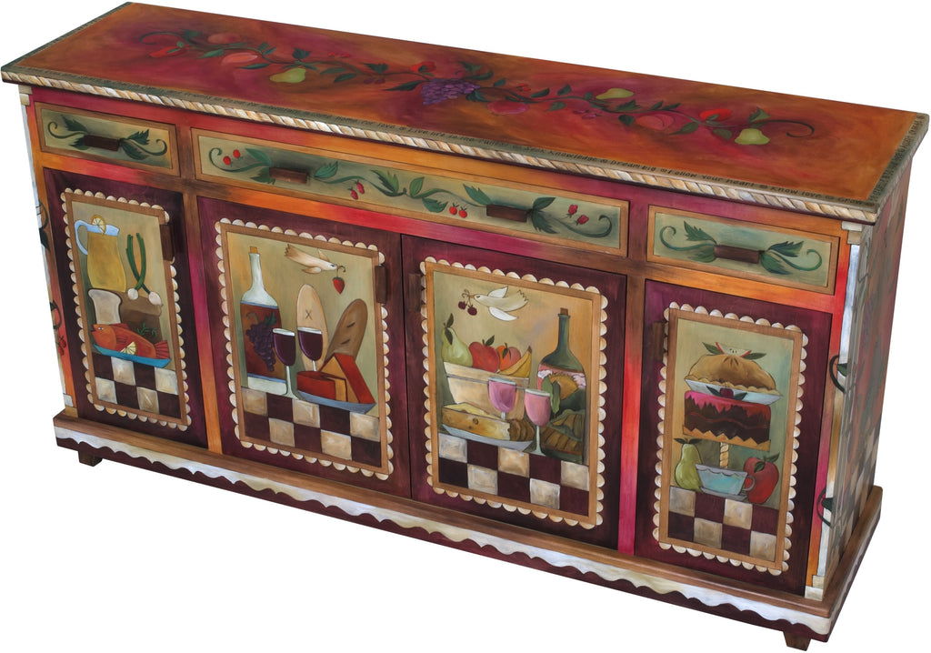 Sticks handmade buffet with rich, warm hues and banquet motif