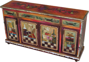 Large Double Door Buffet - Sticks handmade buffet with rich, warm hues and banquet motif main view