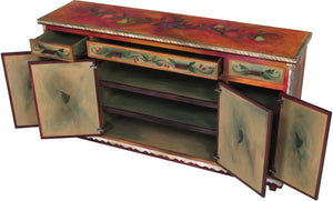 Large Double Door Buffet - Sticks handmade buffet with rich, warm hues and banquet motif view with doors open