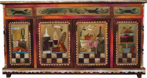 Large Double Door Buffet - Sticks handmade buffet with rich, warm hues and banquet motif front view