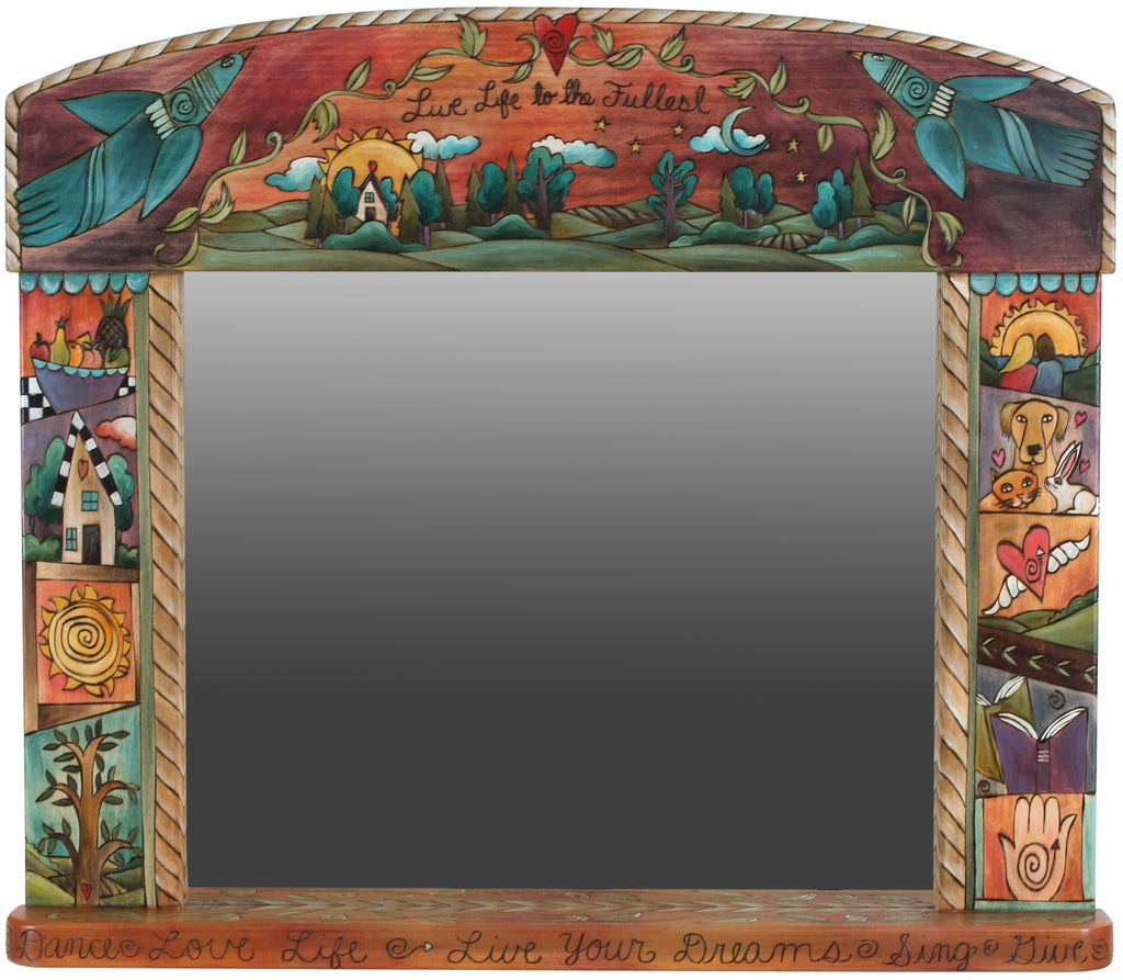 "Large Horizontal Mirror –  ""Live life to the fullest"" landscape and crazy quilt design with ropes and vines throughout"