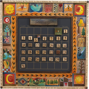 "Large Perpetual Calendar –  ""Look out Every Window to see what you can See"" perpetual calendar with sun and moon motif"
