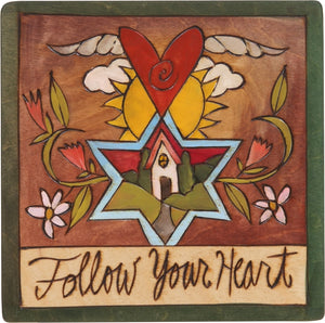 "7""x7"" Plaque –  ""Follow Your Heart"" Judaica plaque with symbolic elements"