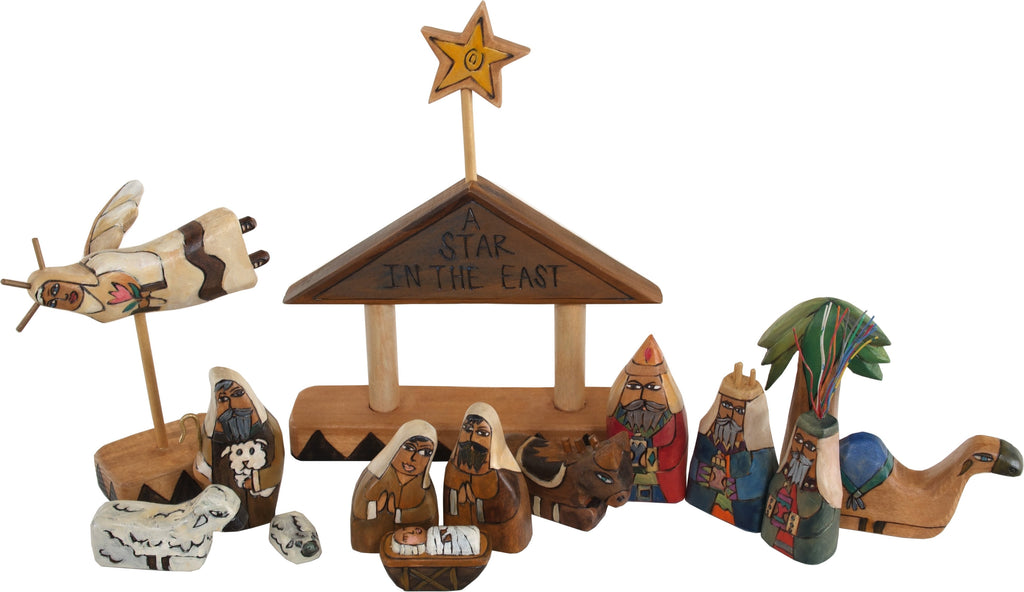 "Small Nativity –  ""A Star in the East"" nativity with brown roof"