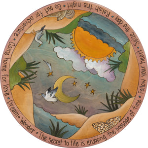 "Sticks Handmade 20""D lazy susan with coastal landscape, seagulls and seashells"