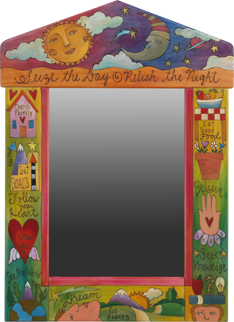 "Medium Mirror –  ""Seize the Day/Relish the Night"" mirror with cheery sun and sleepy moon motif"