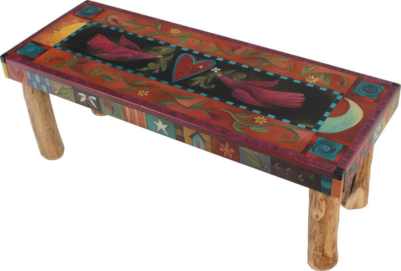 Sticks handmade 4' bench with beautiful folk art imagery