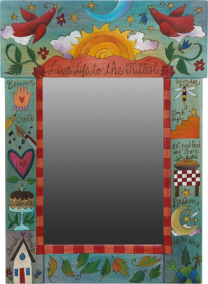 "Medium Mirror –  ""Live Life to the Fullest"" mirror with sun, moon and lovebirds motif"