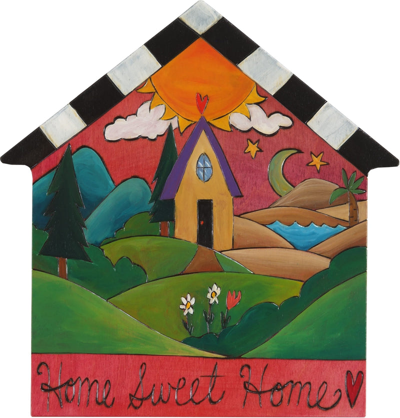 "House Shaped Plaque –  ""Home Sweet Home"" house shaped plaque with rolling landscape and heart home"