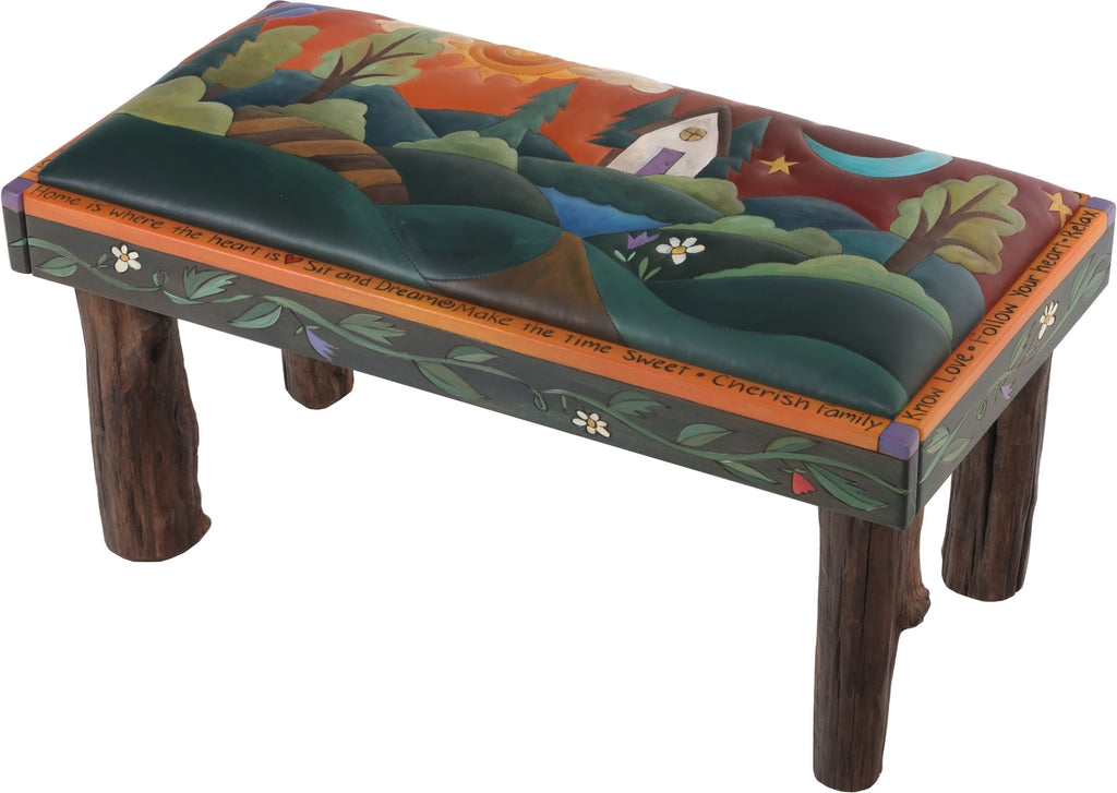 Sticks handmade 3' bench with leather and rolling landscape motif