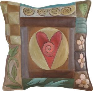 Leather Pillow –  Neutral pillow with heart at the center, block icons, patterns and flowers