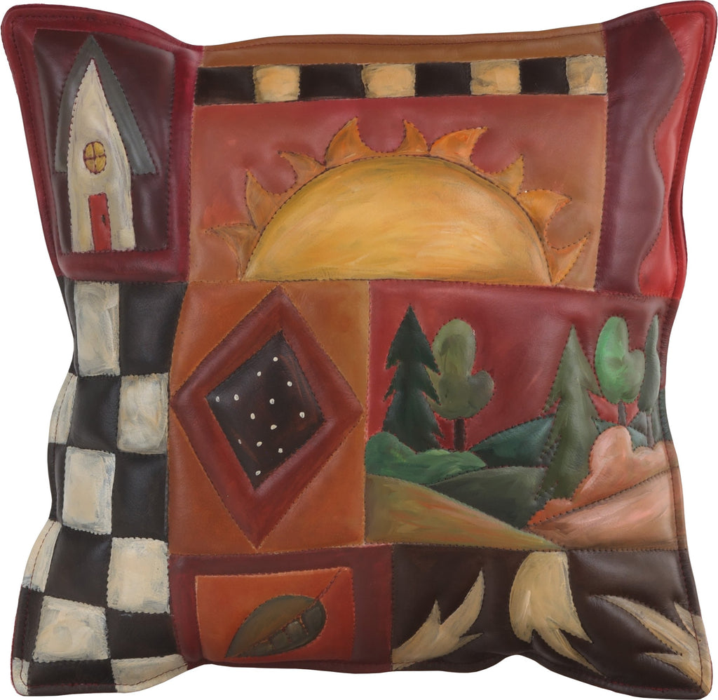 Leather Pillow –  Hand painted pillow with warm hues, landscape, block icons, and patterns