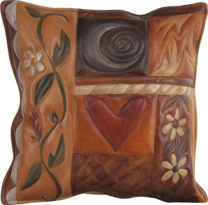Leather Pillow –  Crazy quilt design with neutral and elegant patterns and icons