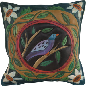 Leather Pillow –  Pillow with bird, vine and flower motifs