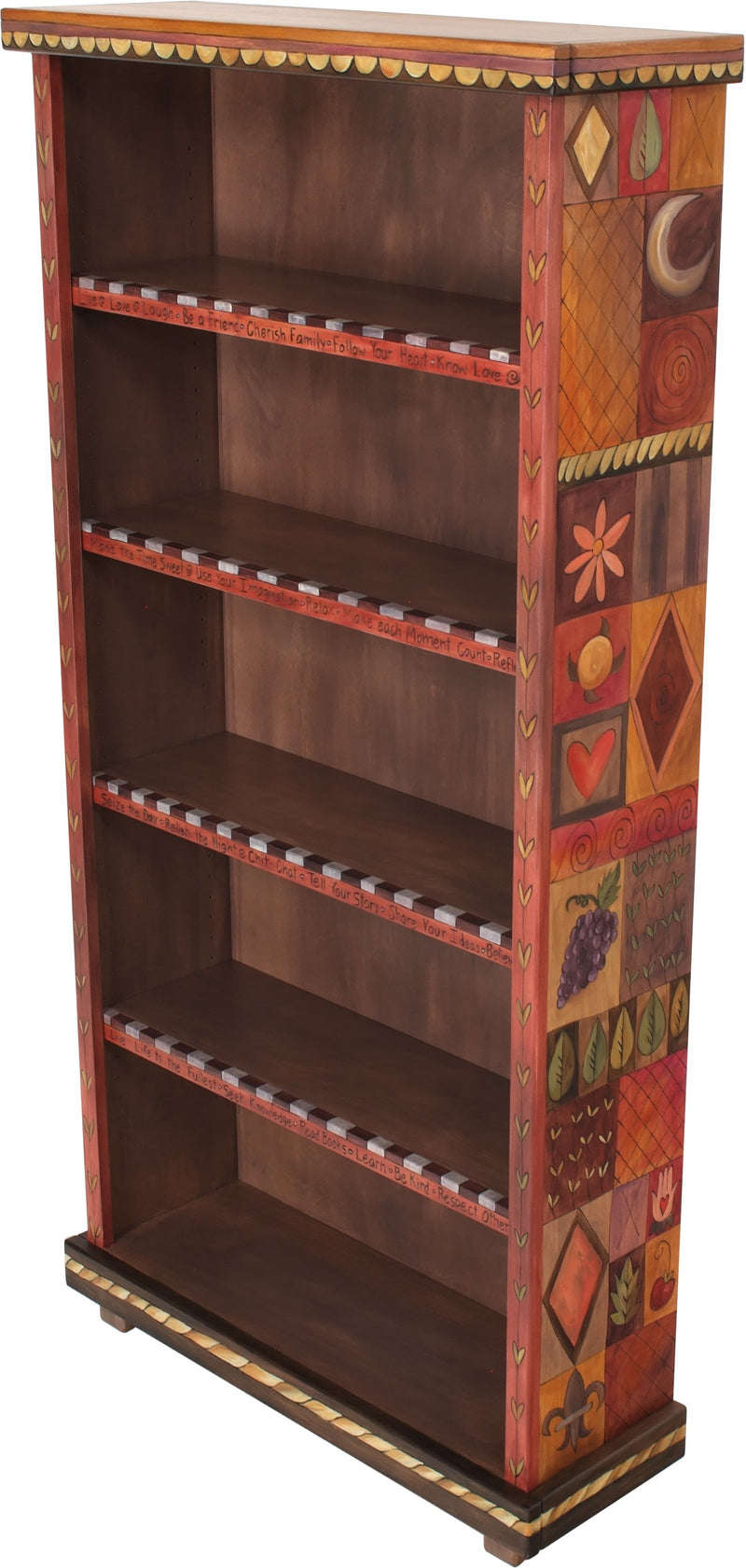 Tall Bookcase –  Elegant and warm tall bookcase with symbolic block icons along the sides